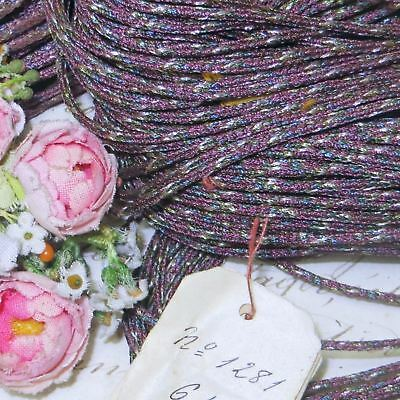 1y ANTQ PURPLE PINK BLUE METAL TRIM CORD THREAD BULLION  RIBBON DOLL DRESS VTGC