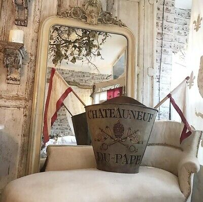 Antique Early 20th Century Painted Chateau Neuf Du-Pape Grape Hod
