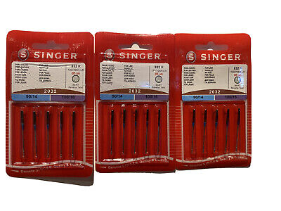 3 Packs x 5 Singer Needles 2032, size 90/14 and 100/16 (15 needles total)