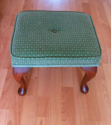 Queen Anne Stool footstool upholstered pouff side table spindle legs vintage
