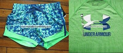 Under Armour Girls Large $55 Blue Green Shorts ~ T-Shirt ~ Bnwt ~ Adorable~