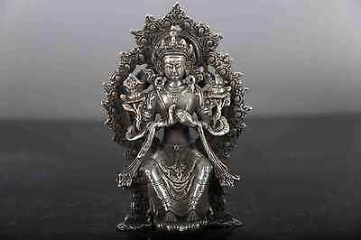 China old copper plating silver hand-carved KWAN-YIN  Avalokitesvara statue d01