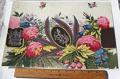 Antique French 18thC (c1780) Hand Painted Watercolor Textile Artwork~Roses~12X16