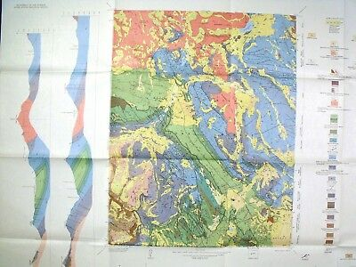 USGS SNOWMASS COLORADO GEOLOGIC MAP, Huge Full Color Map Original Sleeve 1970