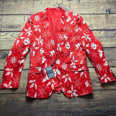 Suslo Couture Mens Size 40 Tailored Perfection Red Christmas Blazer NEW