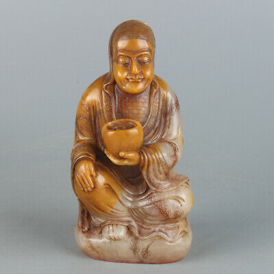 Chinese Exquisite Handmade Luohan carving Shoushan Stone seal
