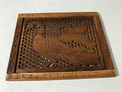 Folk Art Wooden Wall Hanger Birds Hand Carved Beautiful 12x15 Inches