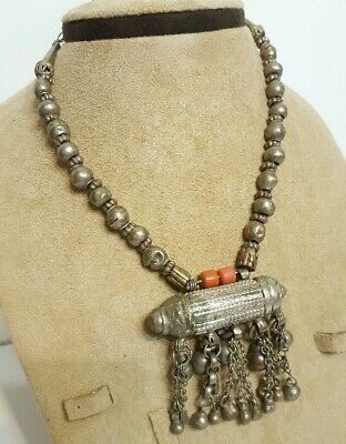 Vintage Old Antique Yemenite Bedouin Tribal Arab Ethnic Silver Women Necklace N8