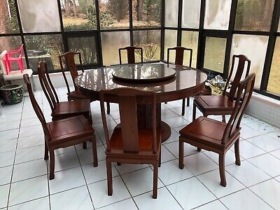 Antique Chinese Carved Dragon Motif Round Dining Table W/ 8 Chairs