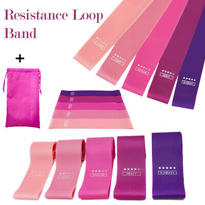 Resistance Bands Loop Set of 5 For Exercise Glute yoga Spots Fitness Gym Home UK