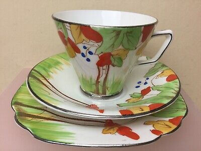 Royal Albion China  Art Deco Tea Trio Cup Saucer Side Plate
