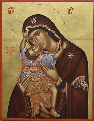Hand painted  Byzantine art icon of Mother of God- Panagia-Virgin Mary-Theotokos