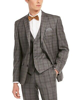 $425 Bar III Men's Slim-Fit Gray Brown Plaid Suit Jacket 38R Wool