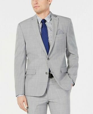 $425 Bar III Men's Slim-Fit Stretch Light Gray Suit Jacket 42R Wool
