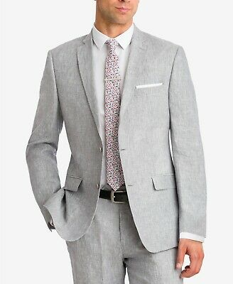 $275 Bar III Men's Slim-Fit Light Grey Chambray Suit Jacket 38R Sport Coat LINEN