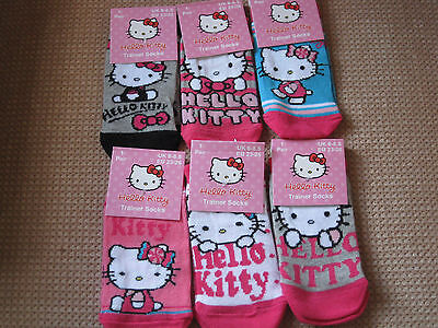3 Pairs Girls/Teens Hello Kitty Trainer socks, 4 sizes in 6 designs