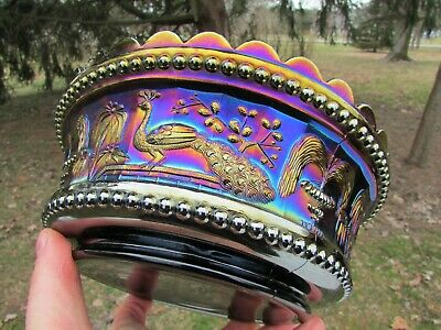 Northwood PEACOCK AT THE FTN ANTIQUE CARNIVAL GLASS MASTER BERRY BOWL~PURPLE!