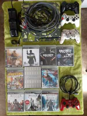 PS3 Sony PlayStation 3 Slim Camo Bundle 10 Games 4 Remotes 1 Charger 160 GB LOT