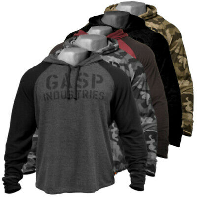 GASP Longsleeve Thermal Hoodie Bodybuilding Fitness Gym Wear