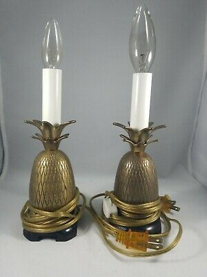 Vintage Solid Brass Pineapple Lamp Candlestick Small Accent Table Lamp x 2
