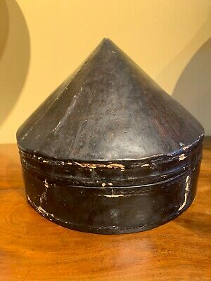 19th Century Chinese Hat Box Leather Laquer 1800s