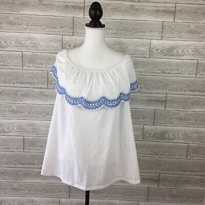 Style & Co Blouse Womens Top 1X White Boho Embrodiered Scallop NEW N15