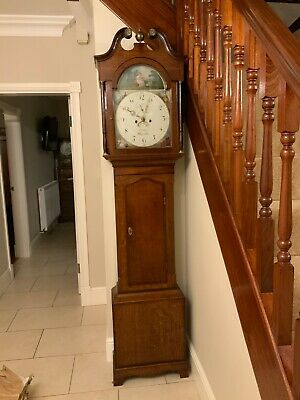 Circa 1810 Georgian Oak Longcase Grandfather Clock,  excellent working condition