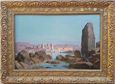 Painting signed RUDHARDT orientalist swiss Egypt Temple Philae Landscape 19th