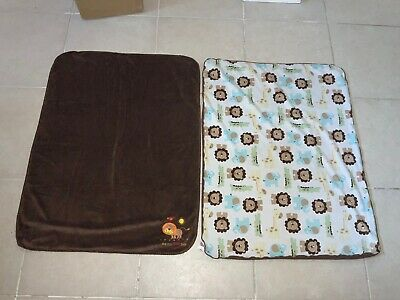 LOT 2 Child Of Mine Brown Blue Multicolor Lion Baby Blankets ADORABLE SET