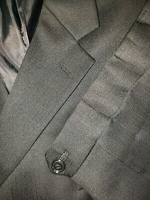 Jones New York Mens Size 50L 44x32 Black Brushed Wool Blend 3 Btn Two Piece Suit