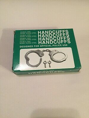 Double Lock Nickel Plated Steel Handcuffs with Two Keys P10020