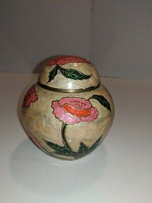 Chinese Cloisonne Enamel Lidded Ginger Jar 5 3/4 tall Champagne & Pink Flowers