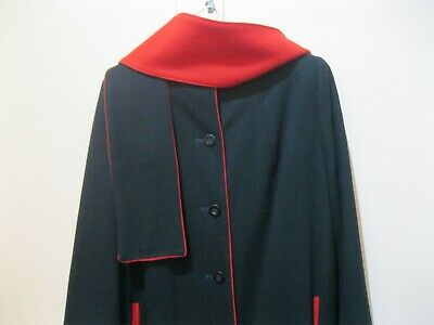 Vintage Ladies Black Tailored Woolen Coat & Scarf with red trim& lining. Size 16