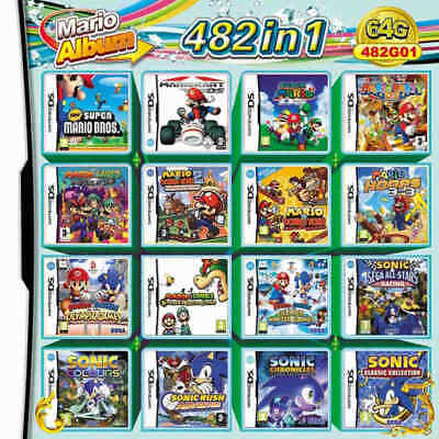 NDS 482 in 1 Game Cartridge Mario Multicart for DS Lite NDSi 3DS 2DS XL