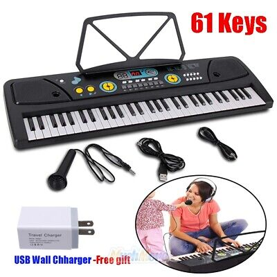 Full Size 61 Key Music Digital Electronic Piano Keyboard with Microphone & Stand