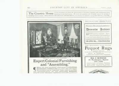 1906 Colonial Furniture Interior Design Chair Rug Table12164