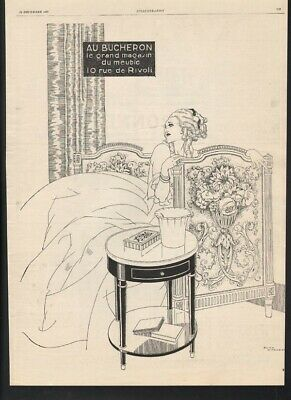 1927 Woodcutter Furniture Rene Vincent Bed Nightstand Beauty Dress Flower 21534