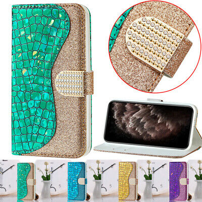 For iPhone 11 Pro Max Xs XR Bling Glitter Leather Wallet Card Holder Case Cover