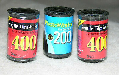 3 Rolls of Seattle FilmWorks 35 mm film 2-400, 1-200 PhotoWorks: Exp 5 or 4-2002