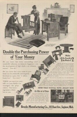 1911 Brooks Household Wooden Furniture Home Decor Ad 10838