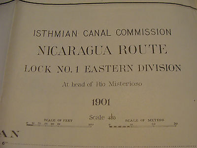 Early 1900's Original chart ISTHMIAN CANAL:  plate 64 LOCK no. 1