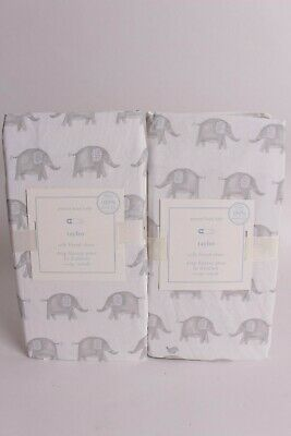 set/2 NWT Pottery Barn Kids Taylor Elephant crib fitted sheets, gray
