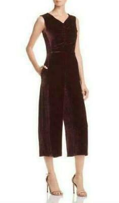B37 Rebecca Taylor Sleeveless Velvet Ruched Bordeaux Jumpsuit Size 10 $595 NEW