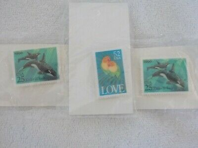 New Lot Of 3 Vintage 1990 Postal Postage Stamp Pin Love Birds Whales