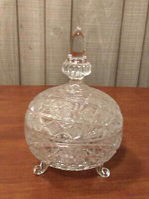 Pretty CRYSTAL Frosted Cut 3 Footed CANDY DISH Acorn Top FLORAL Grated Diamond