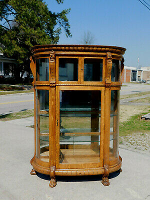 Tiger Oak Bow Front China Cabinet circa 1900~~Glass Shelves~~Mirrored Back