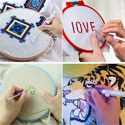 Cross Stitch DIY Embroidery Sewing Pen Magic Knitting Punch Needle & 50 Threads