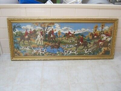 Vintage Framed TAPESTRY - Hunting / Riding Scene. Dogs. Horses. Stag at Bay 1970