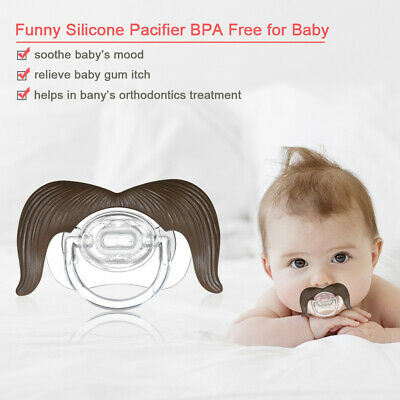 New Baby Funny Mustache Pacifier BPA Free Silicone Infant Newborn Pacifier N4N3