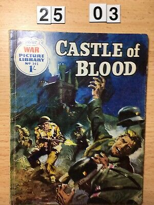 """Fleetway War Picture Library Comic # 345 from 1966. """"Castle of Blood"""" VG Cond."""
